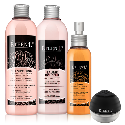Etern'l Shampoo, Pflegespülung, Serum und Haarserumpplikator